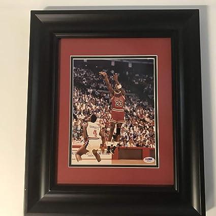 af7661bcc280c5 Image Unavailable. Image not available for. Color  Framed Autographed Signed  Michael Jordan Chicago Bulls 8x10 Basketball ...