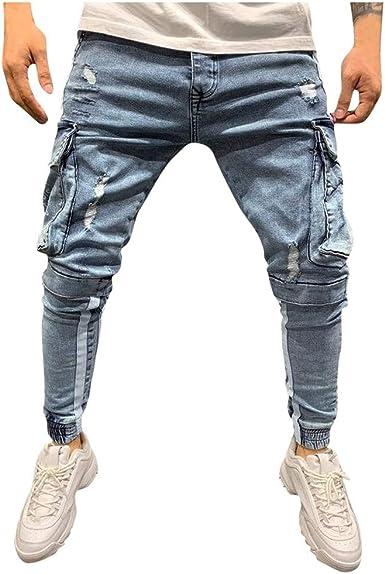 Vpass Pantalones Vaqueros Para Hombre Pantalones Casual Moda Jeans Rotos Trend Largo Pantalones Pants Skinny Pantalon Fitness Jeans Largos Pantalones Con Bolsillo Ropa De Hombre Amazon Es Ropa Y Accesorios