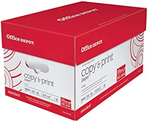 Office Depot White Copy Paper, 8 1/2in. x 11in., 20 Lb., 84 Brightness, Case Of 10 Reams