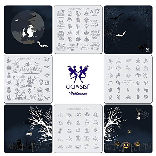 CICI&SISI Nail Art Stamping Plates Kit Holiday Halloween- Horror Night Stamp Plate Manicure Template 4 -
