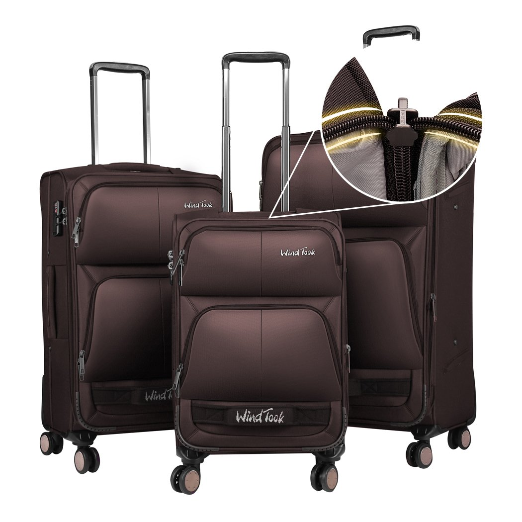 Windtook 3 Piece Luggage Sets Expandable Spinner Suitcase Bag for Travel and Business-8050 (Coffee-8050-YKK+TSA)