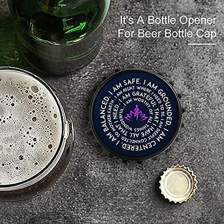 Yoga Mantra I Am Safe - Abrebotellas con imán trasero para nevera, forma creativa de tapa de botella, fácil de abrir el esfuerzo de botella.