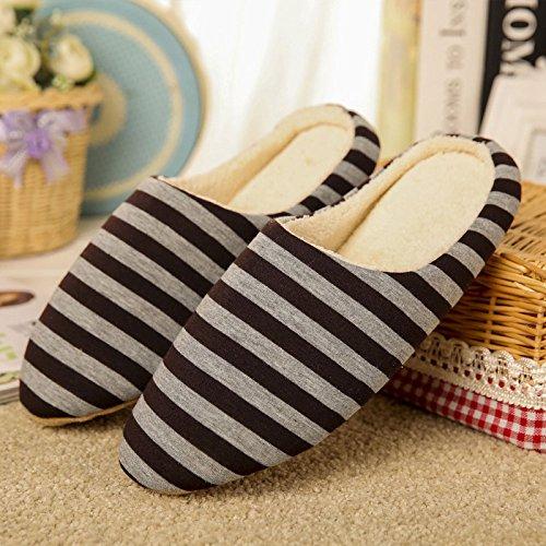 Qiao Nai (TM) Pantoffeln,Rutschfeste Slippers,Weiche Rutschfeste Pantoffel,Plüsch Hausschuhe fuer Indoor zu Hause,Winter Pantoffeln Weiche Gestreifte für Herren Damen Braun