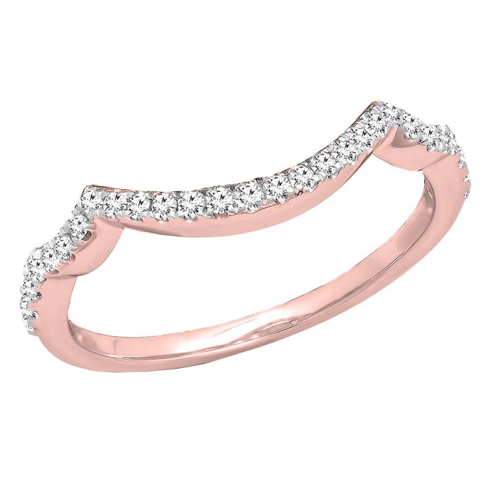 Dazzlingrock Collection 0.20 Carat (ctw) 14K White Diamond Ladies Wedding Contour Guard Ring 1/5 CT, Rose Gold, Size 6.5