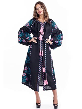 d9c07ed450ed Image Unavailable. Image not available for. Color  Black Embroidered Linen  Dress Embroidered Boho Dress Long sleeve ...