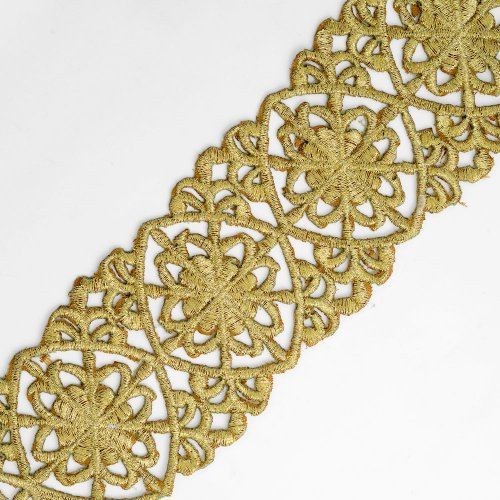 2-Yards Iron on Metallic Lace Trim for Bridal, Costume or Jewelry, Crafts and Sewing, 2-1/4 Inch, SMB-3005 (Gold)