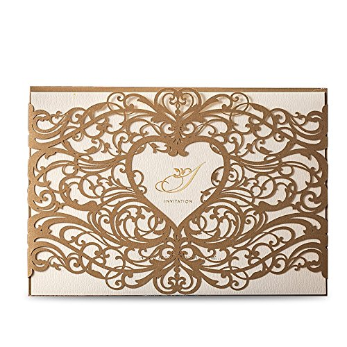 Card Invitation Set (Dream Built Laser Cut Invitations Cards Sets Gold for Wedding Birthday Bridal Shower with Envelopes and White Printable Paper Kits,50pcs,CW5018 (50))
