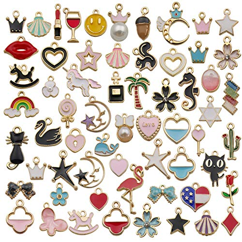 iloveDIYbeads 60pcs Mixed Assorted Gold Plated Enamel Animals Fruit Moon Star Dainty Dangle Charm Pendant for DIY Jewelry Making Necklace Bracelet Earring DIY Jewelry Accessories Charms - Charm Plated Gold Enamel