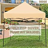 Strong Camel Ez pop Up Canopy Replacement Top Instant 10'X10' Gazebo EZ Canopy Cover Patio Pavilion Sunshade plyester- Beige Color