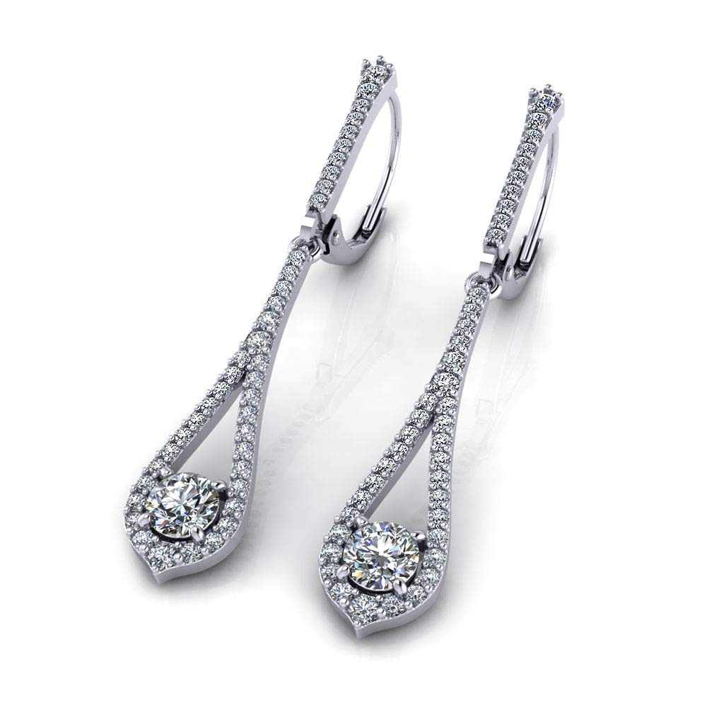 3.00 Ct Round Cut Simulated Diamond Fancy Dangle Earrings In 14K White Gold Plated .925 Silver