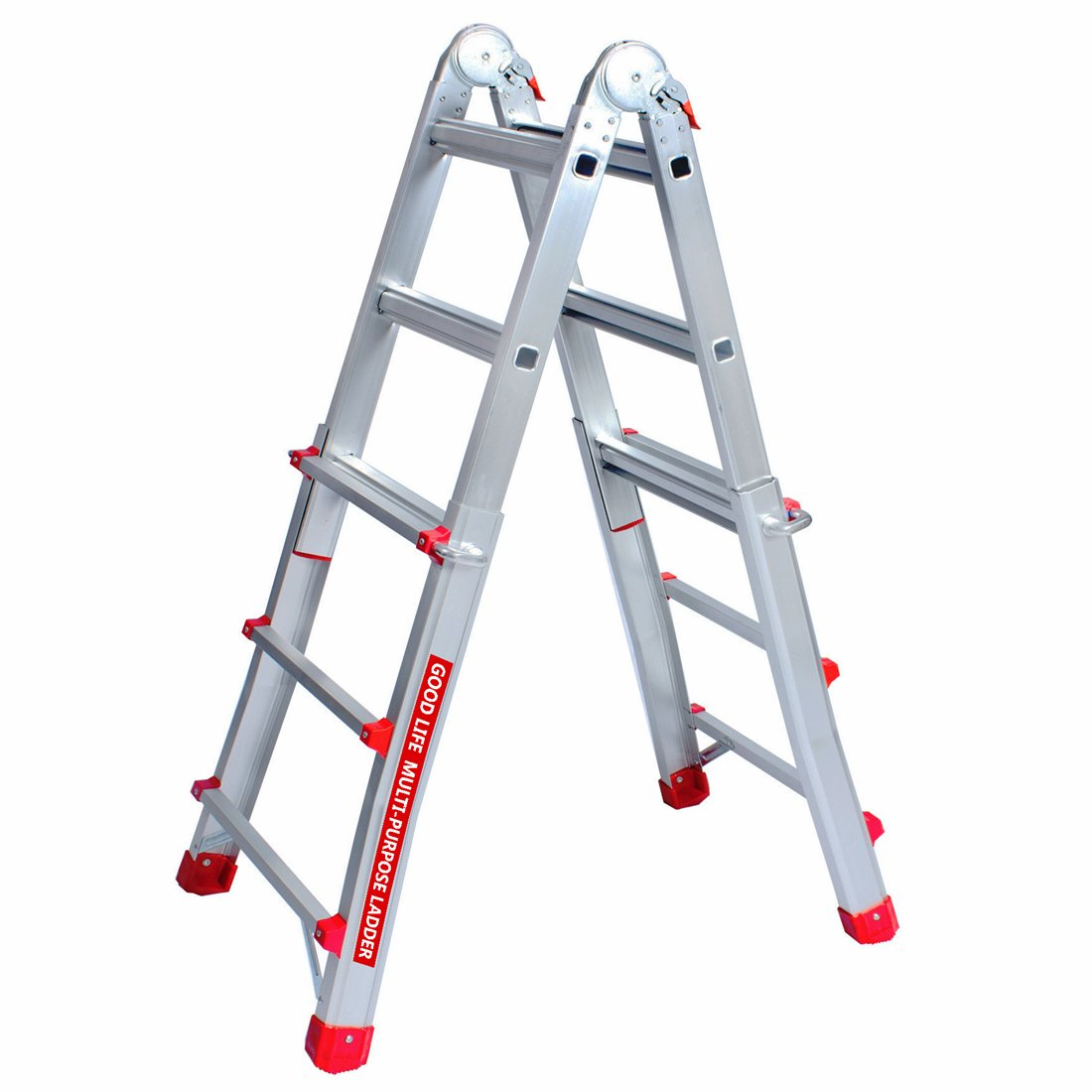 GOOD LIFE EN131 3X4 Step 9.5 FT Telescoping Multi-Ladder Aluminum Extension Adjustable & Folding Multi-Use Multi-Position Ladder 300-Pound for Home HMI475