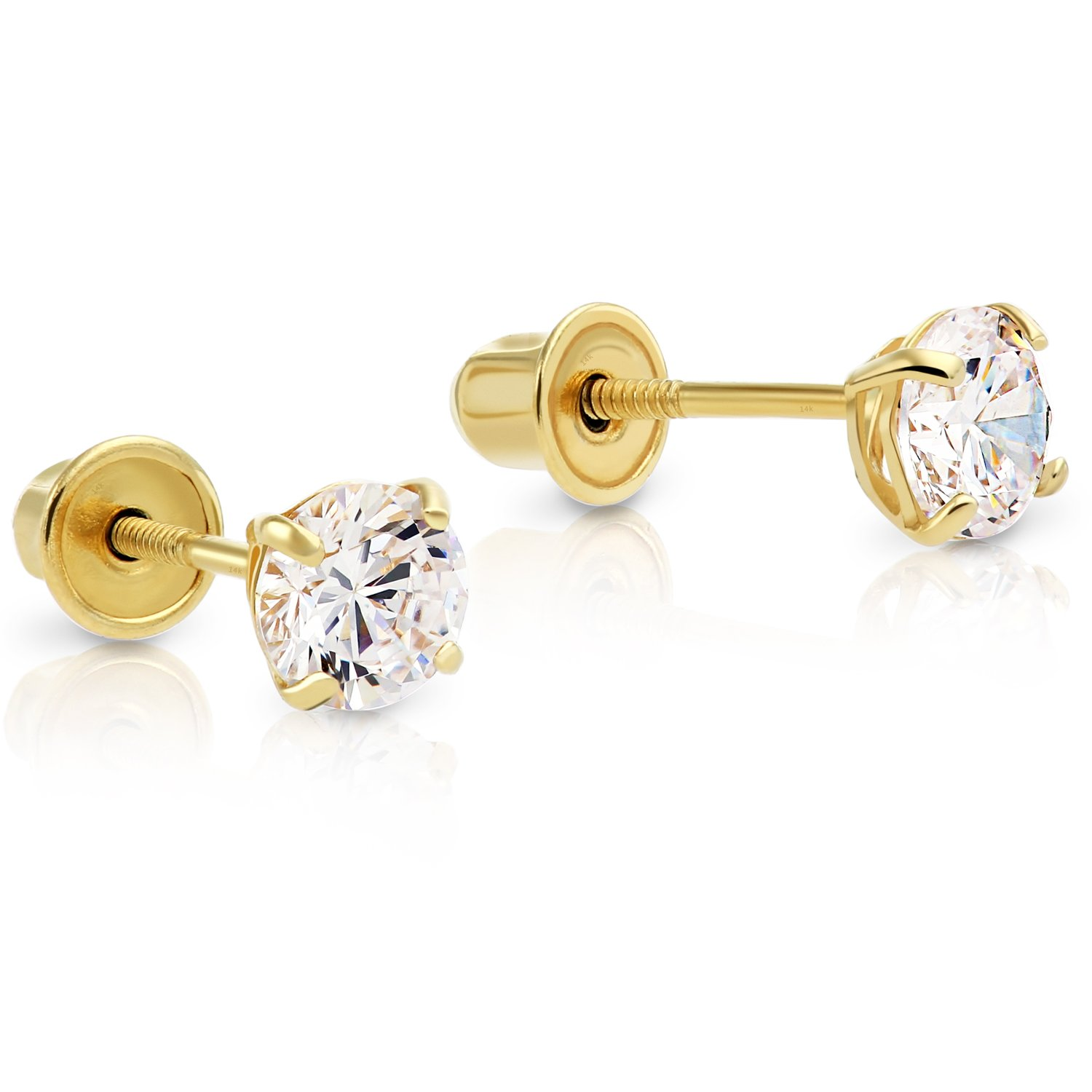 14k Yellow Gold Cubic Zirconia Basket-set Solitaire CZ Stud Earrings with Screw Backs (4mm) by Art and Molly