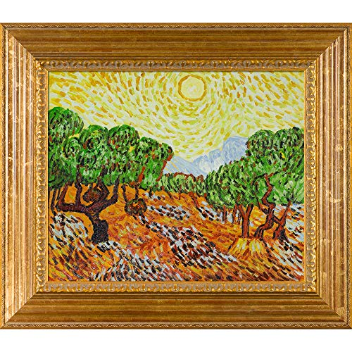 Van Gogh Olive Trees with Yellow Sun and Sky 20-Inch by 24-Inch Framed Oil on Canvas ()