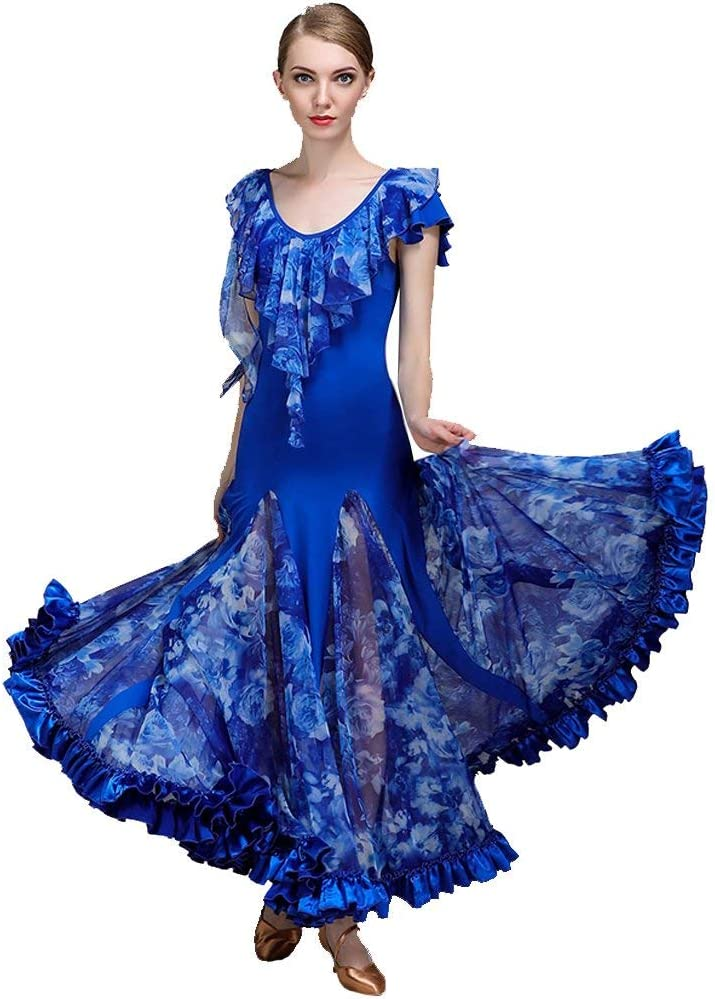 社交ドレス用レディースパフォーマンスチュールアイスシルク柄プリントノーマルドレス 青 XXL