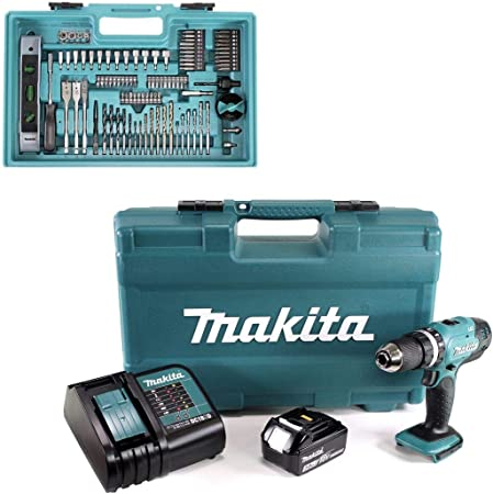 Makita Combi Drill with 1x 3.0Ah Battery & 101 Pcs Accessory Set