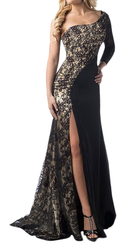 Bigood Women's One Shoulder Lace Joint Irregular Party Maxi Skirt Bodycon Dress
