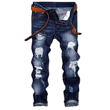 902d2e26f48 WEEN CHARM Mens Distressed Ripped Biker Slim Fit Straight Destroyed Wash  Jeans Moto Denim Pants