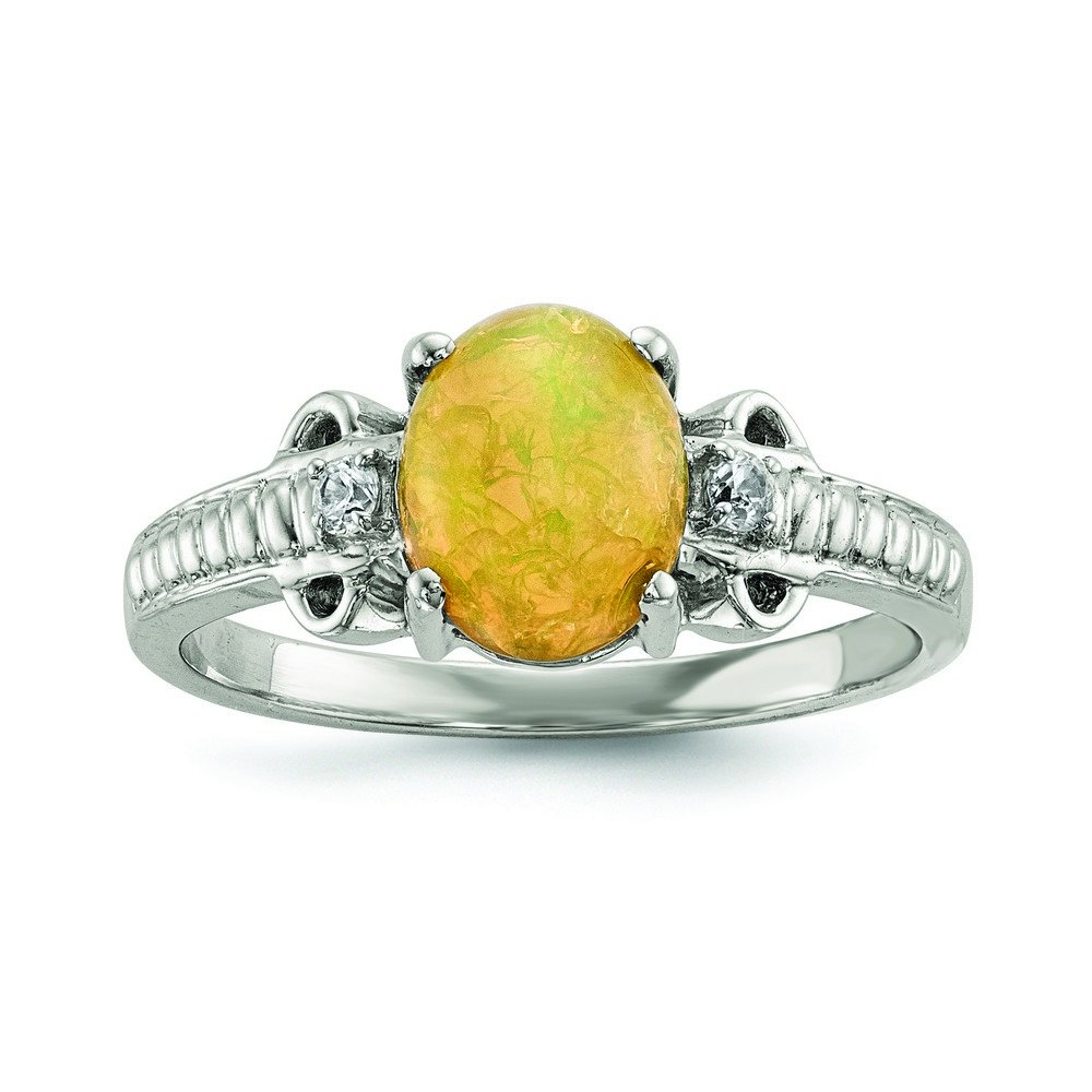 Sterling Silver With Ethiopian Opal and White Quartz Polished Ring - Size 8