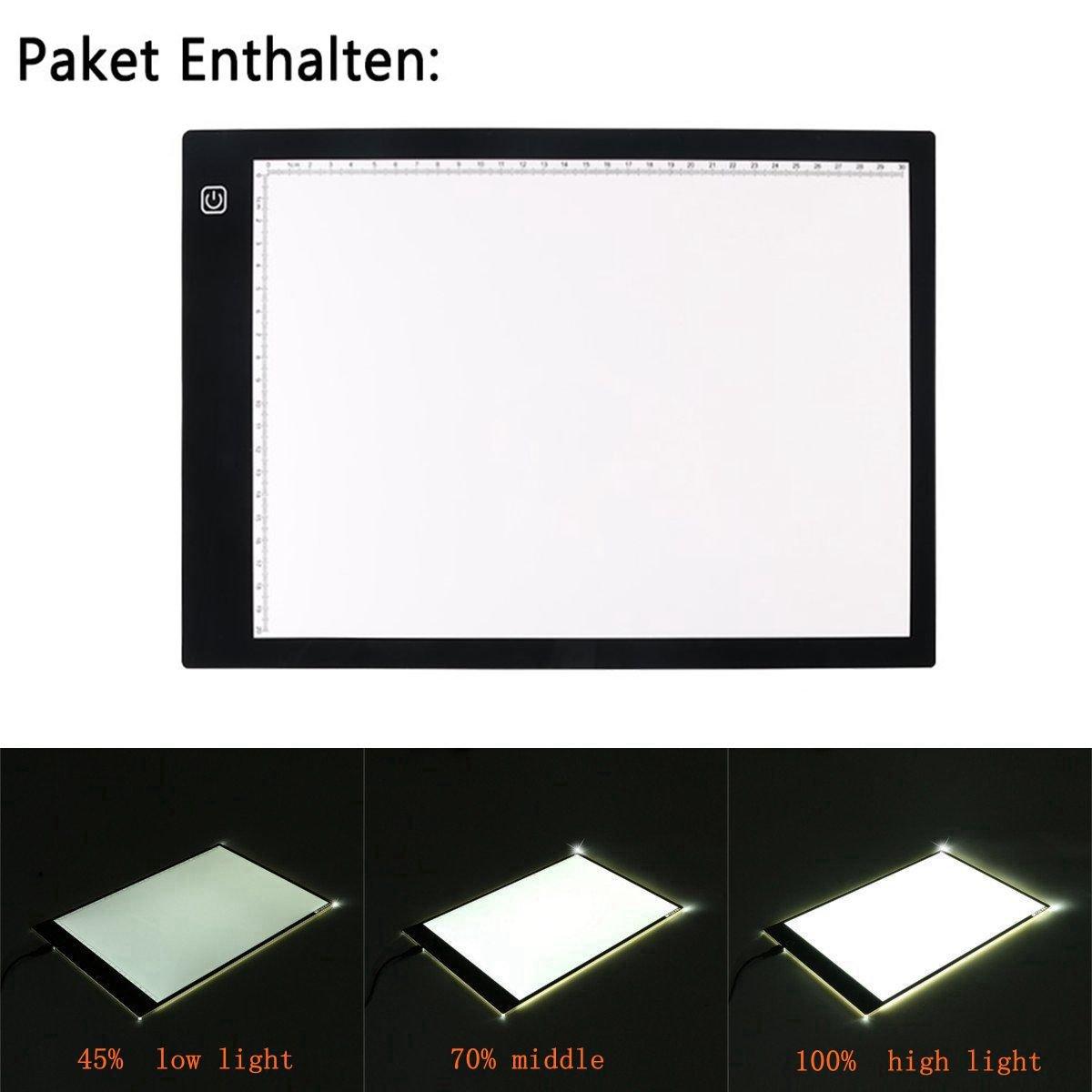 A3 Super ligero de luz de seguimiento Caja con 3 niveles de brillo ajustable Lightbox for Clothing dise/ño de dibujo Tablero de dibujo LED A3 aplicaci/ón de animaci/ón arquitectura