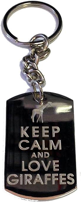 Metal Ring Key Chain Keychain Keep Calm and Love Giraffes