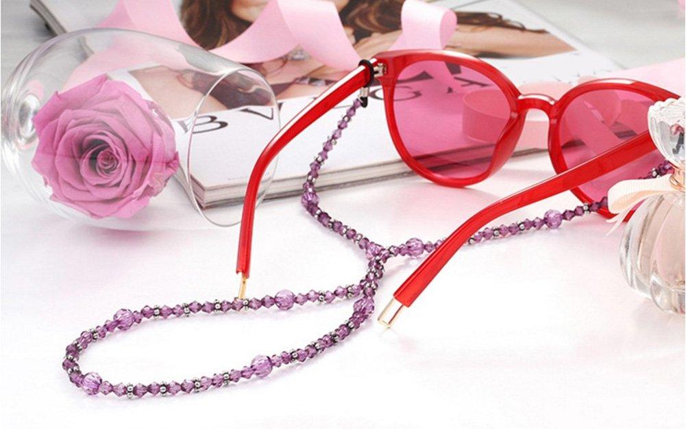 Kentop Elegante Cadena de Gafas con Perlas de Acr/ílico Morado para Gafas,66cm