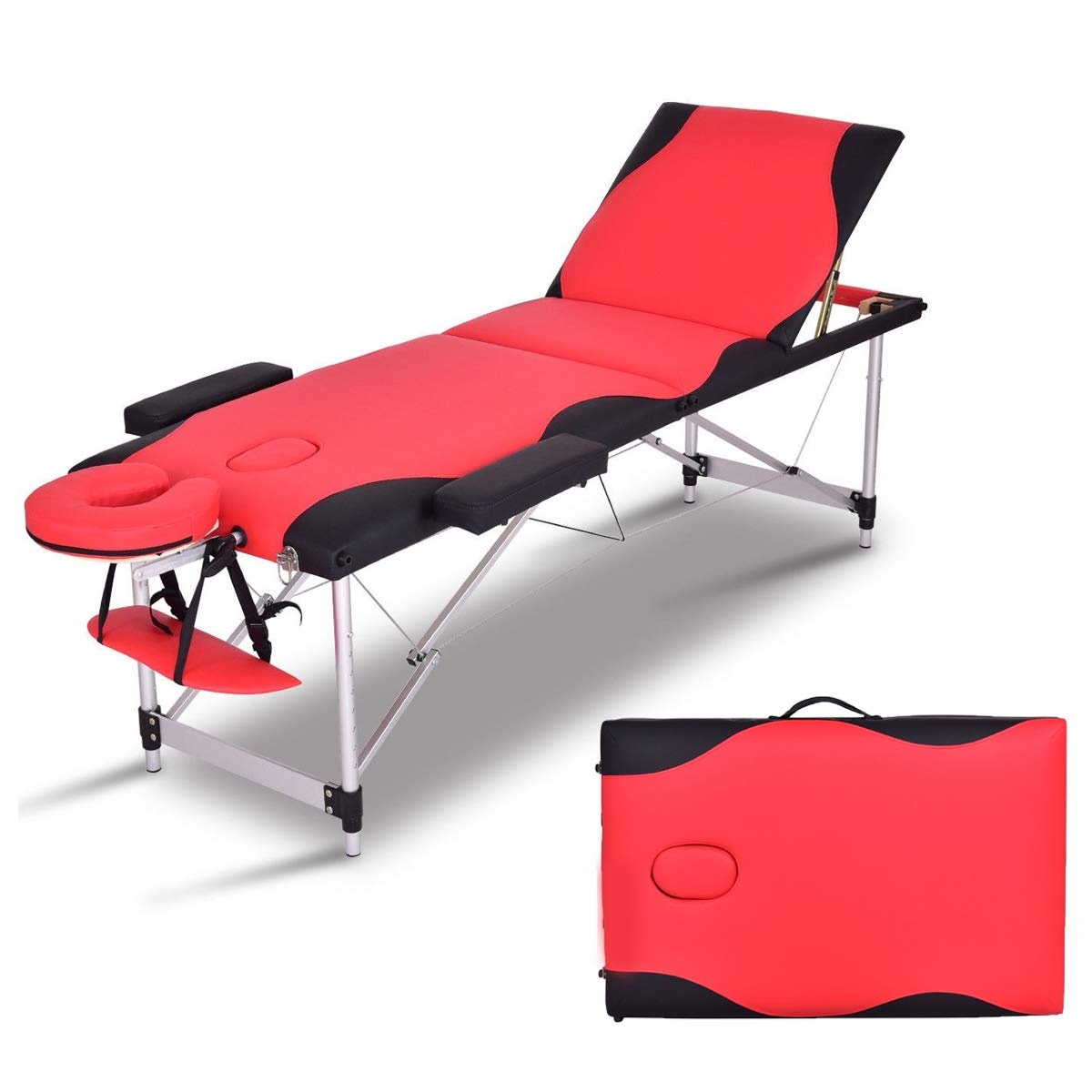 84 L Folding Massage Table Massage Bed Professional Spa Bed Carry Case Portable Facial Salon Tattoo Bed Red