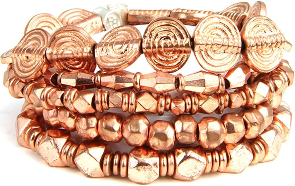 BeachBu Designer Jewelry The Hyde Park Bracelet Set in Copper - A Variety of Copper Beaded Bracelets, Stretch Cord, Set of 5 61xJzZdPBiLUL1000_