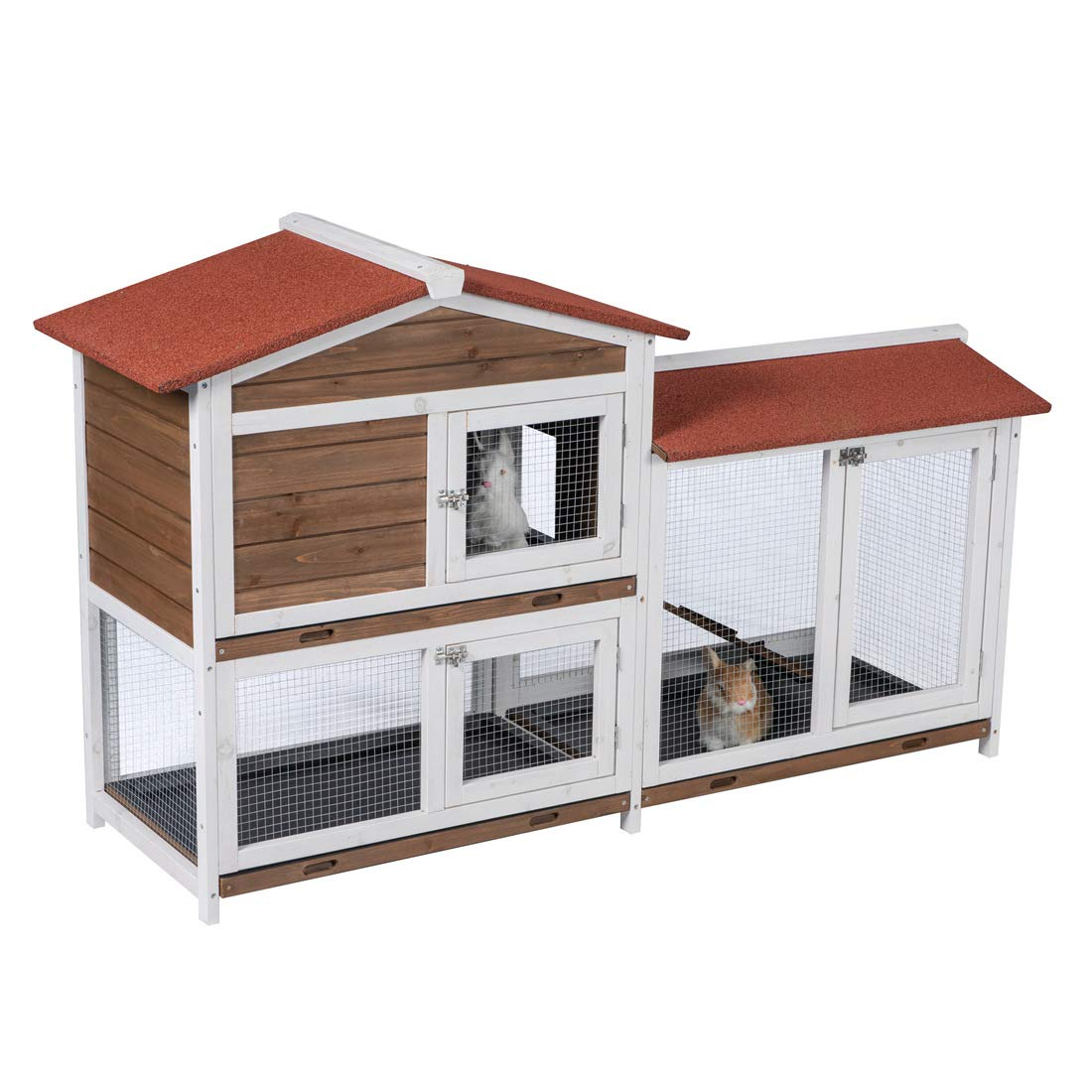 Good Life Two Floors Wooden Outdoor Indoor Roof Waterproof Bunny Hutch Rabbit Cage Guinea Pig Coop PET House for Small to Middle Animals with Stairs and 3 Cleaning Tray by GOOD LIFE USA (Image #5)