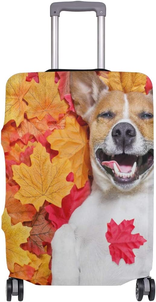 FOLPPLY Autumn Marple Leaf With Dog Luggage Cover Baggage Suitcase Travel Protector Fit for 18-32 Inch