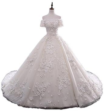 Liaoye Womens Off Shoulder Wedding Dresses Plus Size Elegant Bridal