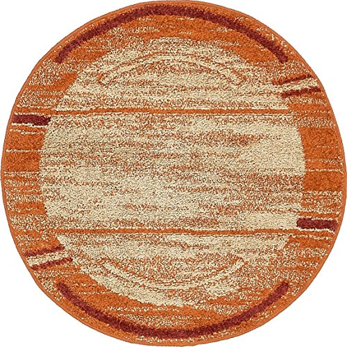 Unique Loom Autumn Collection Rustic Casual Warm Toned Border Terracotta Round Rug (3' x 3')