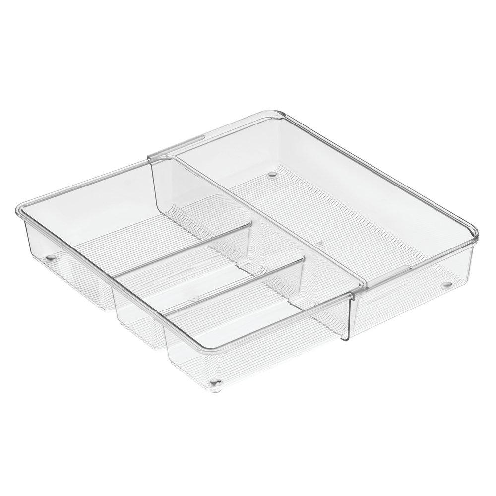 InterDesign Linus Expandable Kitchen Drawer Organizer for Silverware, Spatulas, Gadgets - 12'' x 7'' x 2.3'', Clear