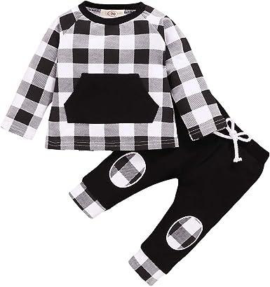 puseky 2 Piezas Bebé Niños Pequeños Trajes a Cuadros Camisa ...