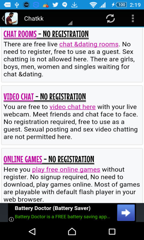 Chat room usa no registration