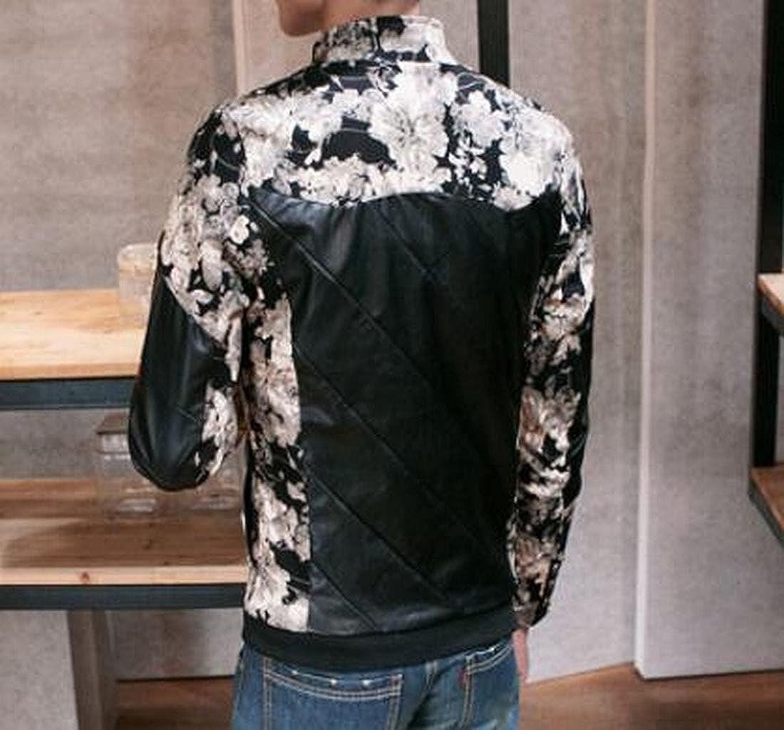 Generic Mens Fashion Zipper Faux Leather Varsity Jacket