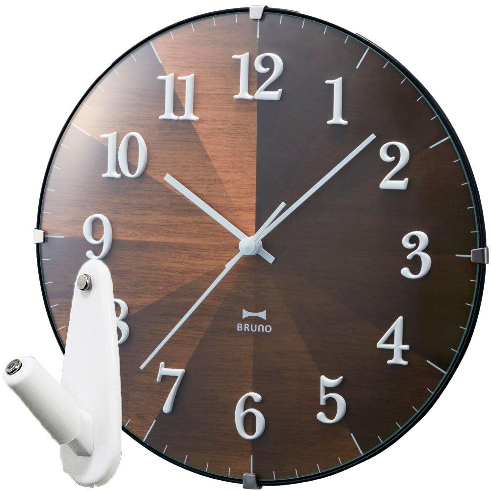 BRUNO 2WAYグラデーションウッドクロック BCW021 + 壁の穴が目立ちにくい時計用壁掛けフック 2点セット 掛け時計 掛時計 壁掛け時計 壁掛時計 フック おしゃれ ブルーノ イデアインターナショナル (ダークウッド) B0764C49JNダークウッド