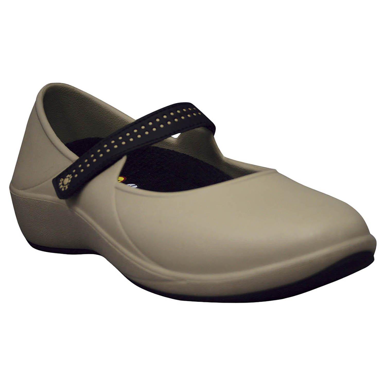 DAWGS Women's Mary Jane Pro Slip Resistant Work Shoe B004M0N4S4 7 B(M) US|Tan/Black