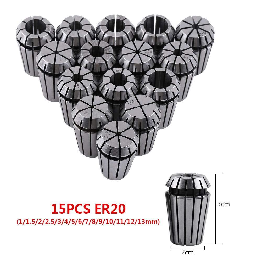 15 piezas de sujeci/ón ER20 de resorte Juego de pinzas para m/áquina de grabado CNC y herramienta de torno de fresado 1-13mm Juego de boquillas
