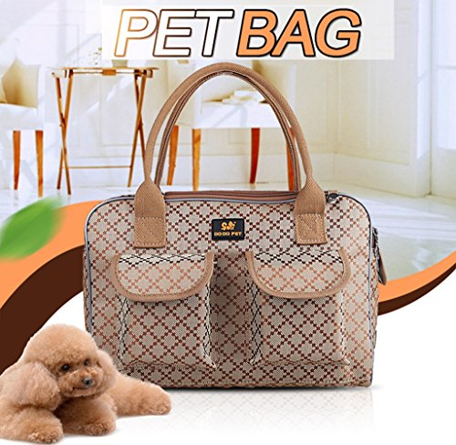 Dog Carrier Handbags - Pet Carrier,Petera Fashion Pet Dog Carriers Luxury Cat Travel Carrying Handbag,Airline Approved Travel Soft Sided Pet Carrier for Dogs, Cats and Puppies (M)