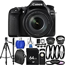 Canon EOS 80D DSLR Camera with EF-S 18-135mm f/3.5-5.6 IS USM Lens (White Box) 64GB Bundle 33PC Accessory Kit Includes 64GB Memory Card + 0.43x Wide Angle Lens + 2.2x Telephoto Lens + 3PC Filter Kit (UV-CPL-FLD) + 4PC Macro Filter Set (+1,+2,+4,+10) + MORE - International Version (No Warranty)