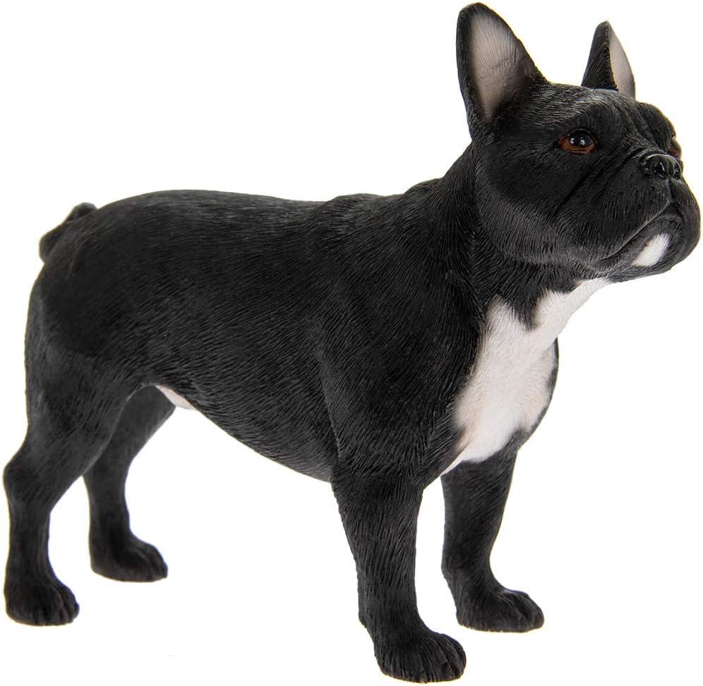 Leonardo Collection - Figura Decorativa, con Forma de Perro Bulldog francés, de Piedra, Color Negro, 12 x 4 x 10 cm