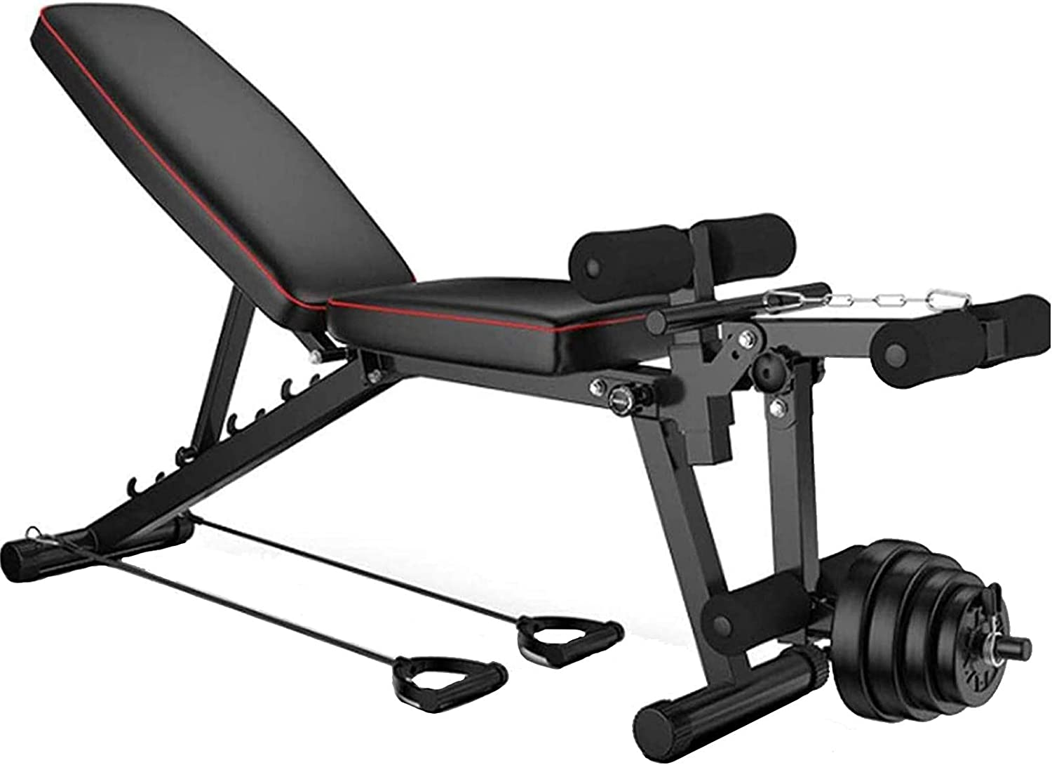 JUAN Exercise Bench Foldable,Weight Bench With Leg Extension And Leg Curl,Comfortable Padding,Multi-adjustable Backrest Sit Up Bench For Home Gym Fitness,Max 200kg