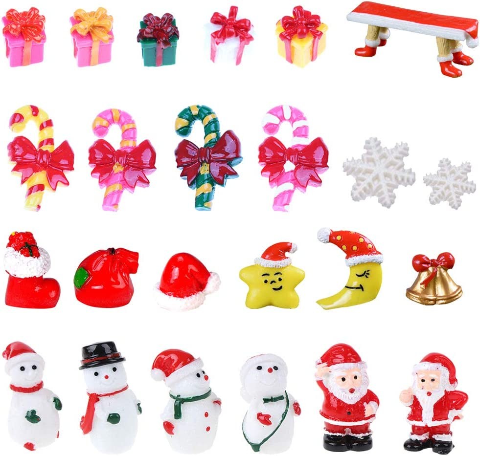 Gukasxi 24pcs Christmas Miniature Ornaments Kit Resin Figurines Set for Crafts DIY Fairy Garden Dollhouse Flowerpot Xmas Party Decoration (Snowman/Santa Claus/Snowflake/Bell/Gift Box/Star/Moon/Bench)