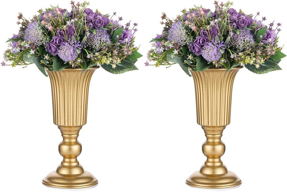 2 Piezas Florero de Trompeta Metal Flores Elegante para Centros de Mesa de Boda para Decoración de Banquetes de Boda, Arreglos de Flores Artificiales 23.2cm Altura para la Ceremonia Aniversario
