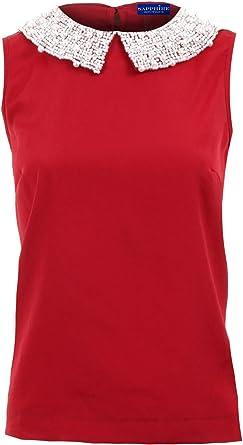 Zafiro Mujer Pedrería Perla Lentejuelas Cuello Rojo Color Carne Chifón Top De Fiesta Para Damas Blusa - sintético, Rojo, 100% poliéster, mujer, UK 10: Amazon.es: Ropa y accesorios