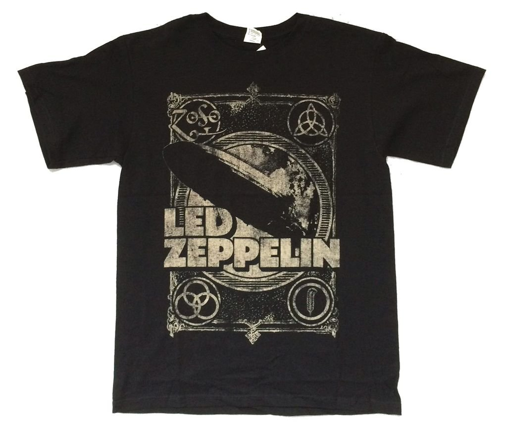 Led Zeppelin Burning Blimp Distressed Runes Images Black T Shirt (L)