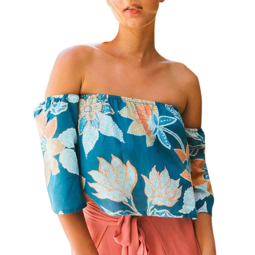 QingJiu Damenmode Damen Strandkleidung Sommer Bedruckt One Word Kragen Lose T Shirt Tops