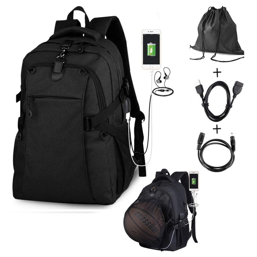 G1-Tech Basketball Backpack, Soccer Backpack, Football Backpack, Computer Backpack Business Laptop Backpack with USB Port, Headphone Pouch and Ball Holder with Basketball Net for Women/Men-Black