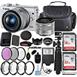 Canon EOS M100 24.2MP Mirrorless Digital Camera (White) + EF-M 15-45mm f/3.5-6.3 IS STM Lens (Silver) + 48GB Memory + Filters & Macros + Spider Tripod + Slave Flash + Professional Accessory Kit