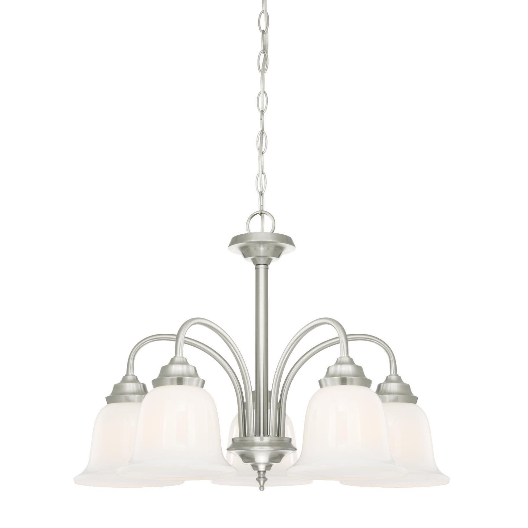 Westinghouse 6300100 Harwell Five-Light Indoor Chandelier, Brushed Nickel Finish with White Opal Glass Traditional Harwell Five-Light Indoor Chandelier, Brushed Nickel Finish with White Opal Glass